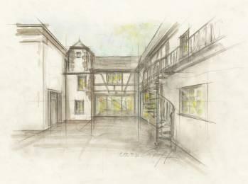 Zuschnitt Skizze Fassade Innenhof